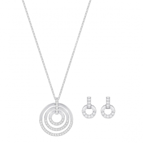 Ladies Swarovski Silver Plated Circle Earring & Necklace Set 5367727