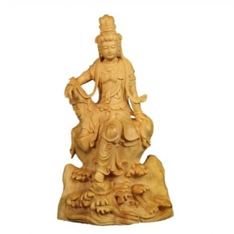 14cm vintage sculpture Exquisite Guanyin Boxwood Buddha statue Decoration craft Pray bless festival Gift Souvenir Huang Yang