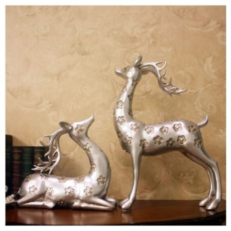1Pair Deer Resin Crafts Sika Couple Deer Statue Fawn Sculpture Animal Figurine Home Wine Cabinet Living Room Decor Souvenir