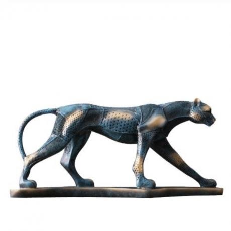 53cm Leopard Sculpture Animal Cheetah Statue Handmade Resin Art&Craft Home Decoration Art Collection Souvenir L3223