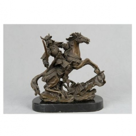 Arts Crafts Copper Classical Bronze Sculpture Knight with war horse statues figurnes military collectables souvenirs