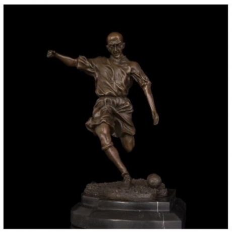 ATLIE BRONZES Sports man football player statue bronze figurine sculpture en bronze souvenir home decor