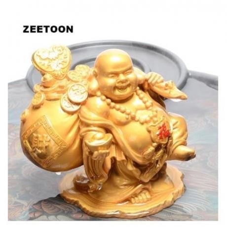 Auspicious Smile Buddha Tea Pet Natural Resin Discolor Statues Zen Souvenir Crafts Boutique Collection Tea Ceremony Adornment