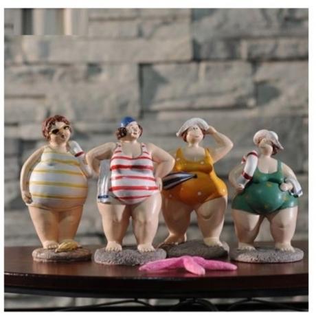 Bikini Figure Statue Mediterranean Navy Decorative Resin Art&Craft Home Accessories Souvenir Gift L3198