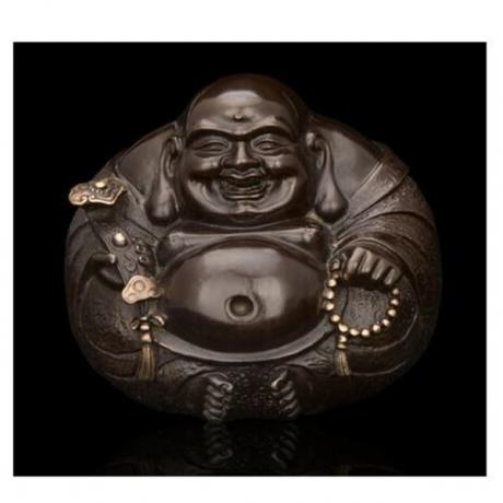 Copper decoration Fine Buddha Brass Good Quality Chinese Bronze statue of Buddha Laughing Buddha and figure Round Small souvenir