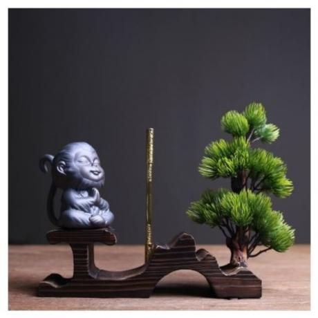 Cute Monkey Statue Ceramic Tea Pet Chinese Kung Fu Tea Set Accessories Decoration Crafts Vintage Boutique Souvenir Figurines