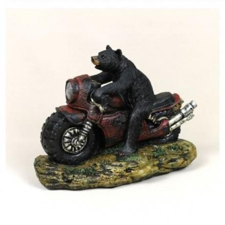 Funny Motor Bear Statue Resin Forest Roamer Sculpture Adventure Home Animal Decoration Souvenir Craft Gift Ornament Accessories