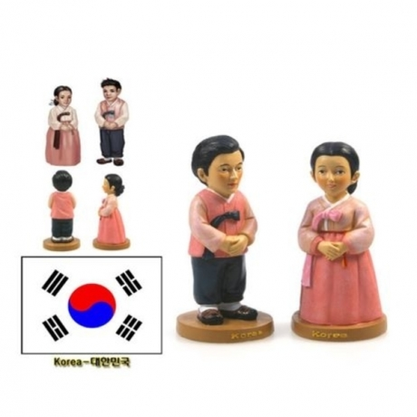 Hot Sale Hand-painted Korea National Costumes A Pair Of Doll Statue Resin Crafts Tourism Souvenir Gifts Collection Home Decor