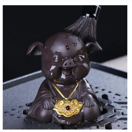 Natural Purple Tea Pet Cute Auspicious Pig Tea Ceremony Tray Accessories Decor Boutique Animal Statue Crafts Souvenir As Gifts