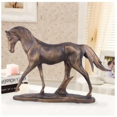 Pony Horse Retro Statue Bronco Horse Animal Resin And Copper Art&Craft Home Decoration Sports Souvenir L3215