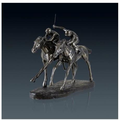Retro Horse Racing Statue Animal Jockey Art Sculpture Resin And Copper Art&Craft Home Decoration Sports Souvenir L3213