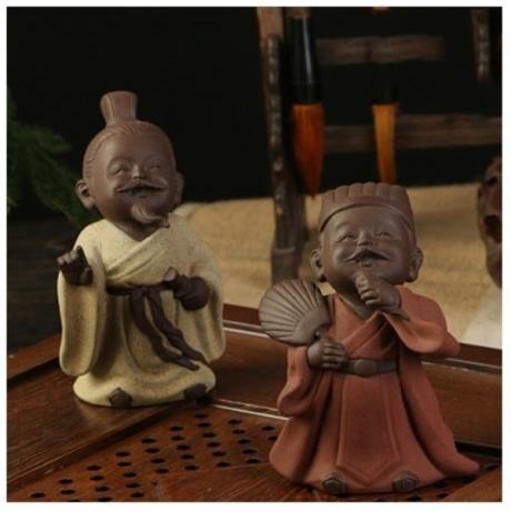 Vintage Character Statue Souvenir Chinese Kung Fu Tea Set Accessories Tea Pet Decoration Boutique Colored Sand Pottery Crafts