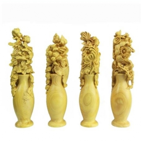 Wood flower vase Figurines arts crafts Chinese Souvenir Home furnishings gift handmade Holiday gift statues for decoration