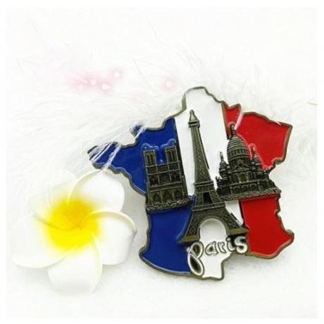 1Pcs New Creative 3D Metal Magnet France Map Fridge Sticker Resin Sticker Paris Tourist Souvenir Tourist Home Decor Carft