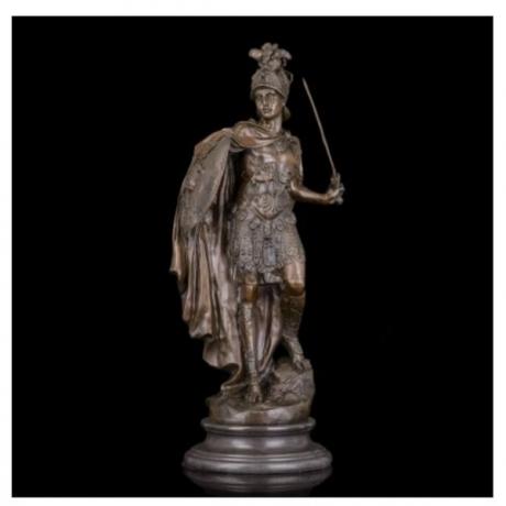 ATLIE Bronzes Large Sculpture Soldier Medieval Knight Armor Bronze Statues Souvenirs Decoration for Hotel Lounge Decoration