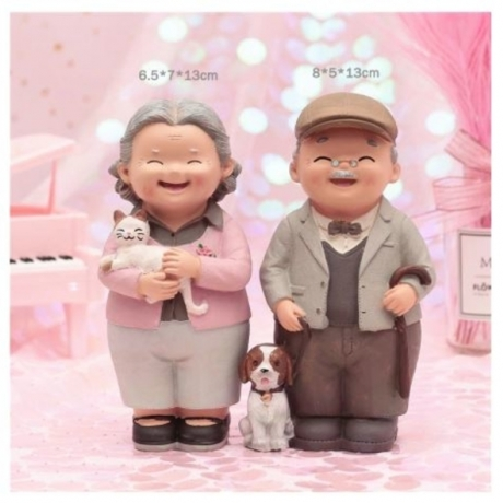 Elf magic An old couple resin decoration wedding anniversary grandparents birthday gift home decoration Happy marriage souvenir