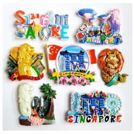 High Quality Flag Of Singapore Merlion 3D Fridge Magnet World Tourism Souvenirs Refrigerator Magnetic Stickers Home Decortion