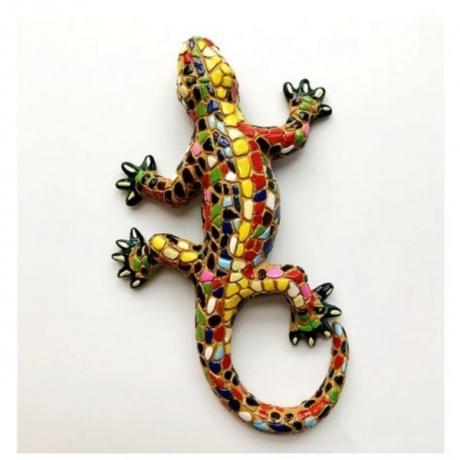 New Handmade Painted Spanish Mosaic Gecko Lizard 3D Fridge Magnets Tourism Souvenirs Refrigerator Magnetic Stickers Gift