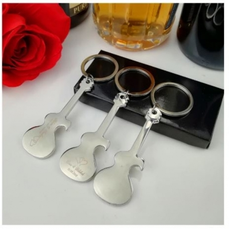Personalized Bottle Opener Keychain Unique Wedding Favor Guitar Shaped Metal Key Chain Wedding Souvenir Gift for Guest 20-Pack