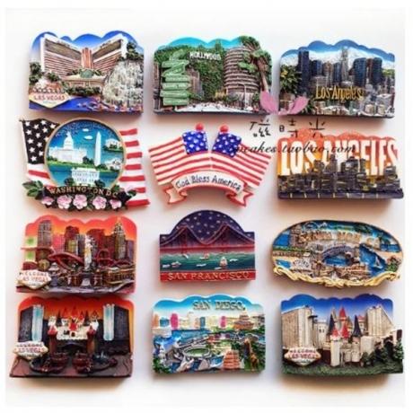 United States Hollywood Los Angeles Las Vegas Tourism Memorial Fridge Magnet 3D Fridge Magnet Sticker Travel Souvenir Decoration