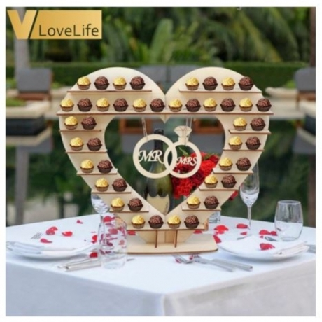 Wedding Anniversary Decorations Mr Mrs Wood Candy Box Chocolate Stand Wedding Souvenirs Gifts for Guests Party Supplies