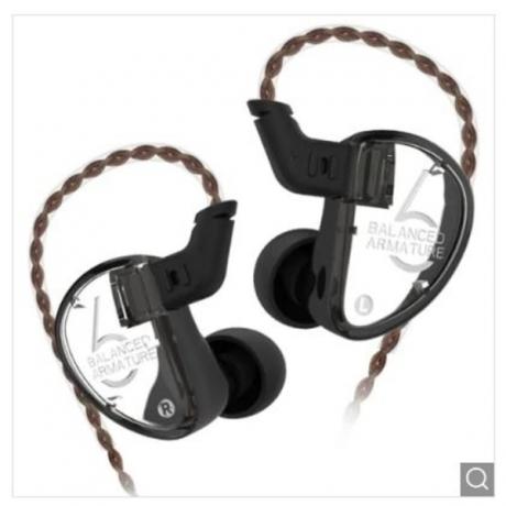 KZ AS06 In-ear Stereo Earphones 3BA HiFi BassEarbuds - Black without Line Control