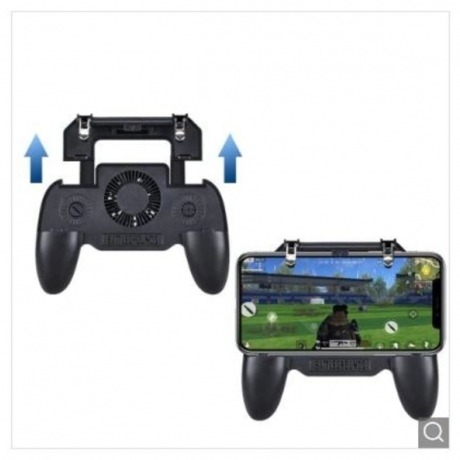 Mobile Game Cooling Fan with 4000mAh Battery Trigger Fire Button L1R1 Controller - Jet Black