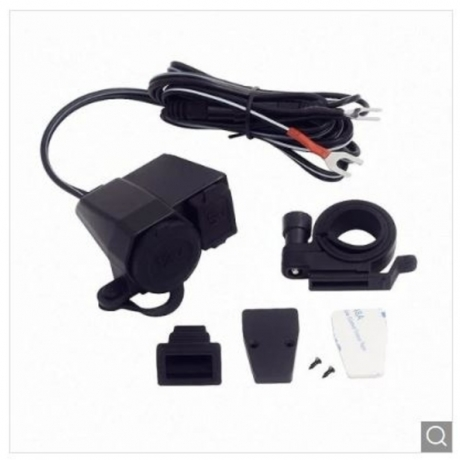 0201B Motorcycle Mobile Phone Charger - Black