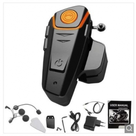 BT - S2 1000m Bluetooth Headset Motorcycle Intercom Auto Answer FM Radio Interphone with 300 Hours Long Standby - Black EU Plug