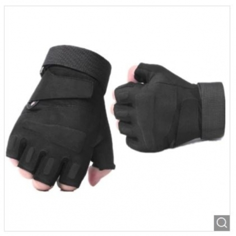 Half Finger Riding Fitness Motorcycle Protective Gloves - Black M