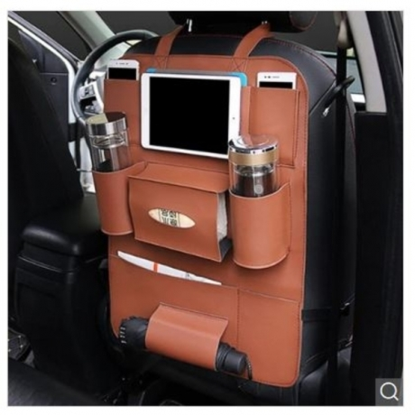 PU Leather Car Back Seat Storage Multi Pocket Bag Pocket Phone Pad Cup Holder Organizer - Brown China