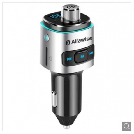 Alfawise QC3.0 Bluetooth 4.2 FM Transmitter Car Charger - Silver 4