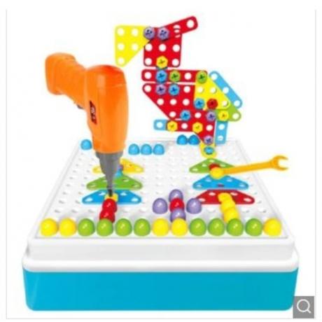 3D Kids Drill Toys Set Screw Tool Block Toy - Multi-A