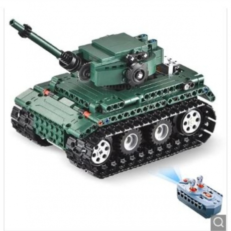 CaDA C51018 DIY Puzzle Strong Power Remote Control Crawler Tank Toy for Kids - Grayish Turquoise