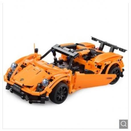 CaDA C51051W DIY Remote Control Building Block Puzzle Assembling Electric Sports Car - Pumpkin Orange
