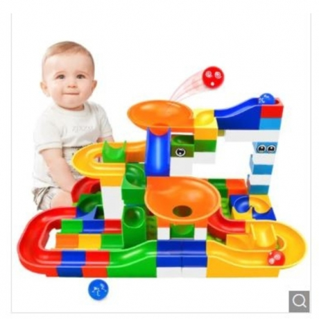 DIY Marble Race Run Maze Ball ABS Funnel Slide Track Building Blocks Toy 52Pcs - Multi-A 52PCS