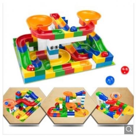 Race Run Maze Balls Track Building Blocks Educational Bricks Toy 52pcs - Multi