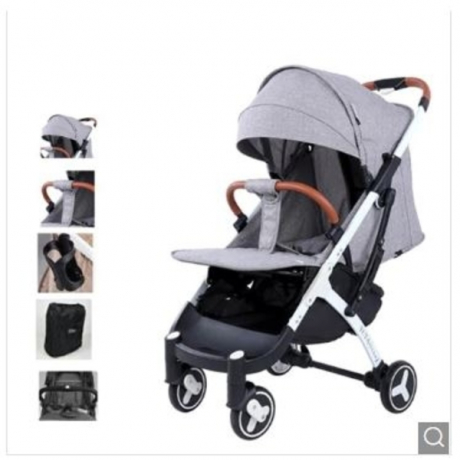 YOYAplus 3 High Landscape Pram Cart Baby Stroller - Gray Black support