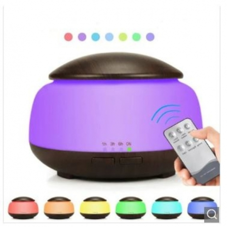 Remote Control 300ML Essential Oil Diffuser Wood Grain Aromatherapy Humidifier - Deep Brown UK Plug