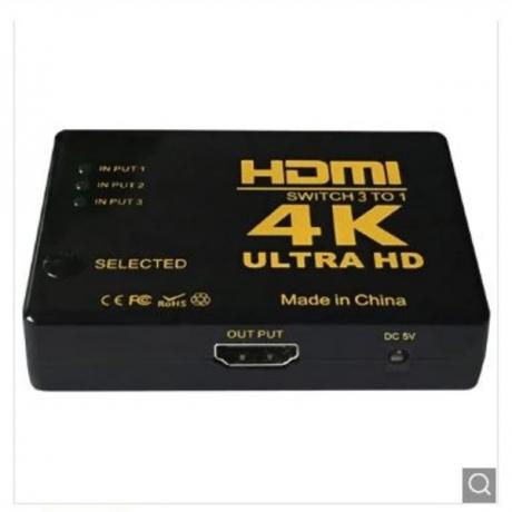 3 in 1 HDMI Switch High Speed Converter with IR Wireless Remote - Black