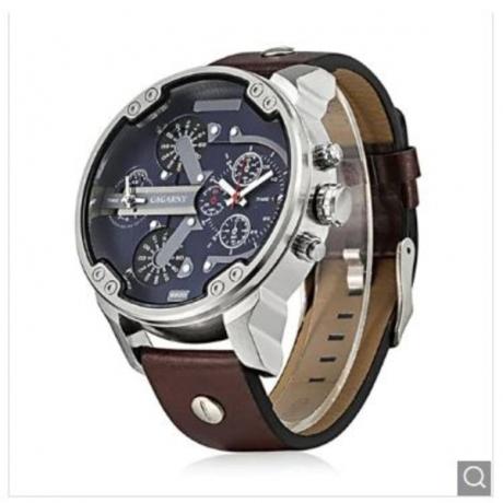 CAGARNY 6820 Men Quartz Watch - SILVER + BROWN