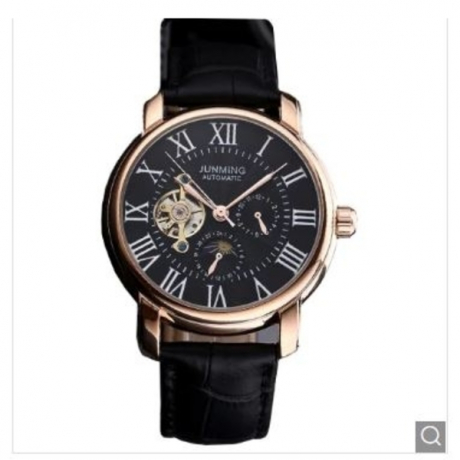 JUNMING Men Luxury Leather Automatic Self-Winding Mechanical Watch - Black