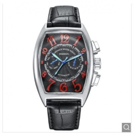 KIMSDUN K - 818D Business Classic Mechanical Automatic Watch - Multi-A Black Dial White Case Red Letter