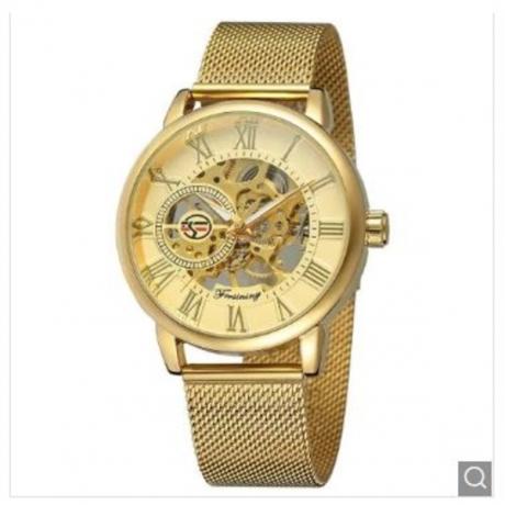 MGORKINA Men Luxury Skeleton Stainless Steel Military Sport Mechanical Watch - Golden brown