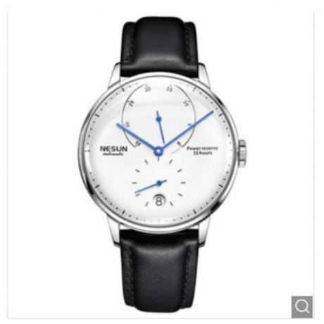 Nesun Men Fashion Trend Waterproof Automatic Mechanical Watch - Multi-A White Dial Silver Case Black Leather Band