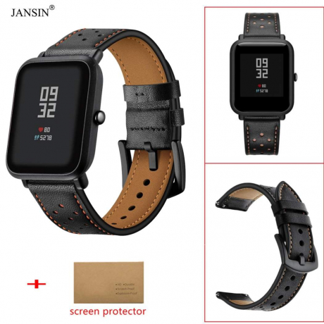20MM Genuine Leather Watch Band Wrist Strap for Xiaomi Huami Amazfit Bip Youth - Black