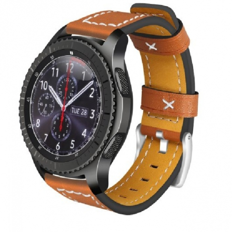 22MM Genuine Leather Strap Watch Band for Samsung Gear S3 Frontier / Classic - Brown