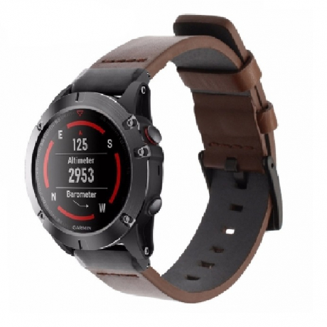 22MM Luxury Genuine Leather Sport Watch Band Strap For Garmin Fenix 5 - Deep Coffee