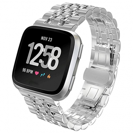 Watch Band for Fitbit Versa Sport Band Stainless Steel Wrist Strap - Silver