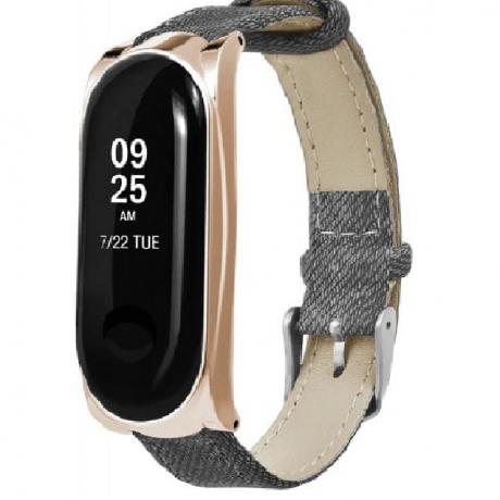 Buckle Denim Belt Watch Strap for Xiaomi Mi Band 3 - Rose Gold